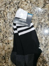 ADIDAS MEN'S BLACK WHITE STRIPES NO SHOW CUSHIONED SOCKS 3 PAIRS $14 BRA... - $6.99