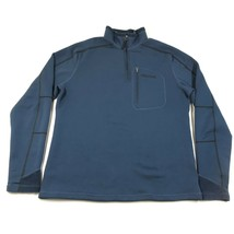 Marmot Softshell Pullover Felpa Uomo L Blu Navy Nero Hemlines 1/4 Zip - $27.69