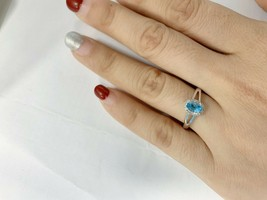 Real Natural Halo Diamond Ring 14K White Gold 0.57CT Swiss Blue Topaz Ge... - $655.00