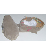American Made! Two Tone Brown Leather Baby Moccasins, Size 2-4 infant Mo... - $32.95