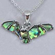 Storrs Wild Pearle Abalone Shell Flying Bat Pendant w/ Silver Tone Necklace image 2