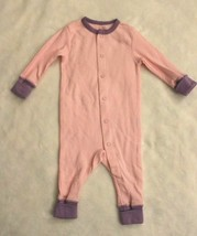 Faded Glory Girls Unionsuit Size 6 9 Months Pink Purple Trim Waffle Long... - $8.70