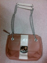 Used pre-owned purse handbag nine west chain brown tan marble color shoulder - $9.99