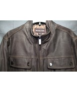 NEW Michael Kors Leather Jacket Brown Men's Rugged Leather Coat MEDIUM $599 - $219.94