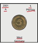 2001 A, Germany: 5 Pfennig coin - $1.91