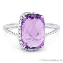 3.41 ct Cushion Cut Amethyst & Diamond Right-Hand Fashion Ring in 14k Wh... - £336.05 GBP