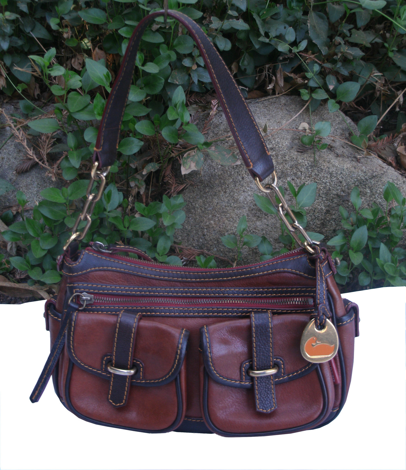Dooney & Bourke Saddle Tan Brown Red Leather Pocket Hobo Brass Duck Charm DS455