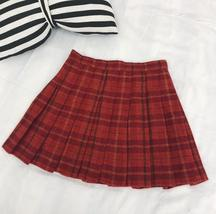 Wool-blend Red Plaid Skirt Women Girl Winter Plaid Skirt Outfit Plus Size Pleat image 5