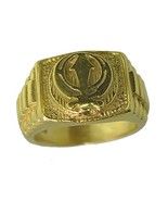 New 24K Gold plated on Real Sterling Silver Sikh Khanda ring any size Je... - $36.62
