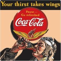 Coca-Cola Aviator Man Thirst Takes Wings Tin Metal Sign WWII Decor AR-21... - $25.26