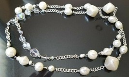 VTG Long Silver Tone Faux Pearl and Aurora Borealis Beaded Necklace - Unsigned - $19.80
