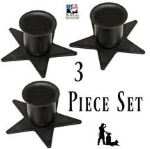 Set of Three (3) STAR WINDOW SILL CANDLE HOLDER - Wrought Iron Metal Sta... - $19.97
