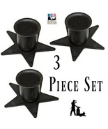 Set of Three (3) STAR WINDOW SILL CANDLE HOLDER - Wrought Iron Metal Sta... - $19.59