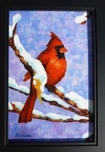 CARDINAL BIRD, Original painting by Akimova, winter, snow, birds - $9.00