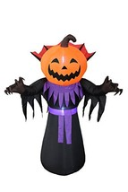 6 Foot Tall Halloween Inflatable Pumpkin Head Monster with Vampire Colla... - $79.68