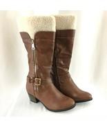Reneeze Womens Boots Faux Leather Sherpa Block Heel Buckle Zipper Brown ... - $36.76