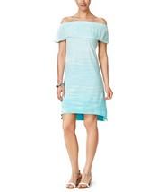 New Style & Co Womens Tie Dye Ruffled Off Shoulder Dress Aqua L $49 - FR... - $14.84