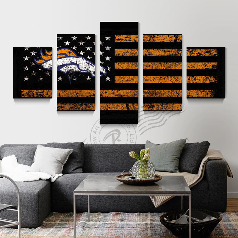 5 Panels Canvas Print NFL Denver Broncos Flag Logo Painting Wall Art Home Decor