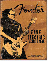 Fender Fine Electric Instruments Guitar Rock On Music Musician Metal Sign - $19.95