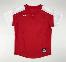 New Nike One-Button Laser Jersey Youth Boy's Medium Red White Baseball 8... - $11.14