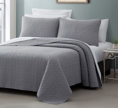 Titan 3pc Quilted Bedspread Set Light Grey Stitched pattern 100% Cotton Filling - $46.44 - $56.89