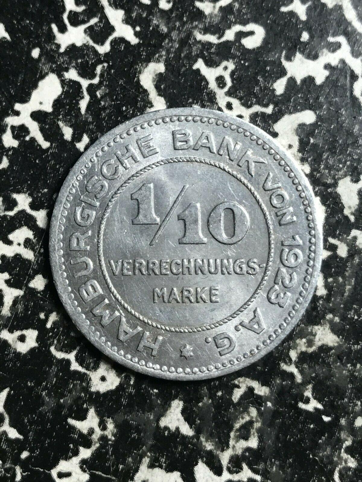 1923 Alemania Hamburg 1/10 Verrechnungsmarke Lote #L2698 Bonito