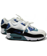 NIKE Air Max 90 Womens Running Shoes White Black Blue Size 6 Authentic New - $104.49