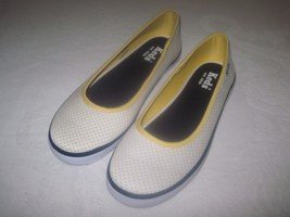 KEDS LADIES WHITE/YELLOW POLKA-DOT FABRIC BALLET SNEAKERS-6-WORN ONCE-CUTE - $9.95