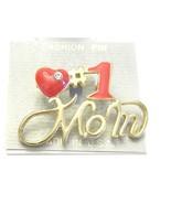 Vintage Jewelry Enamel Red Mom Brooch #1 Mom Heart - $11.39