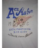 Ace Maker MC Flaming Skull Sin City Lucky Brand Jeans Medium Cream T Shirt - $12.07