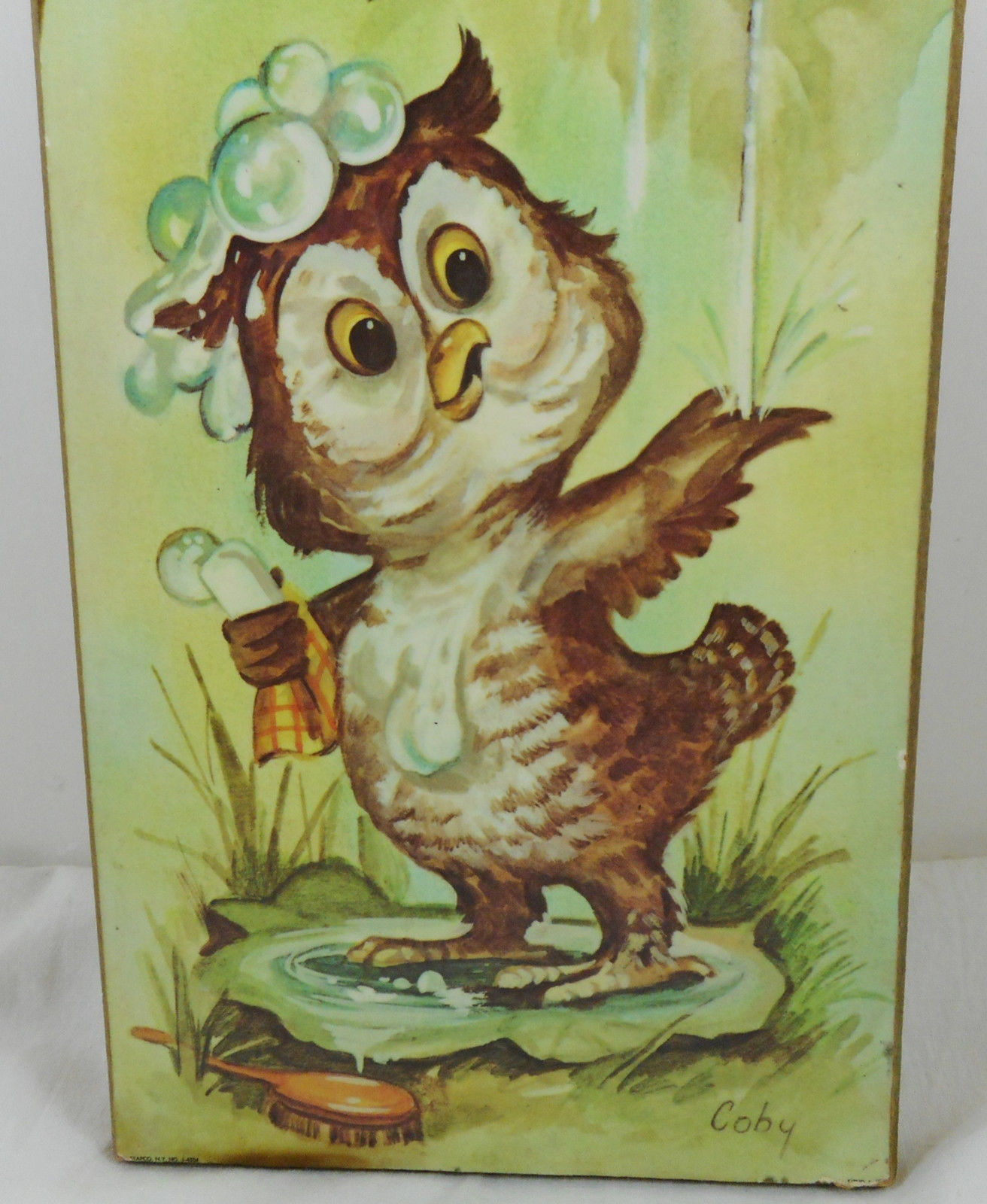 Vintage Coby Bathing Owl Print Mounted On Wood Plaque Picture Hanging Nursery image 2