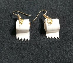 Toilet Paper Earrings Gold Tone Wire Fun Charms Kids Kitsch - $6.50