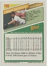 1993 Topps #100 Mark McGwire Athletics Baseball Card image 2