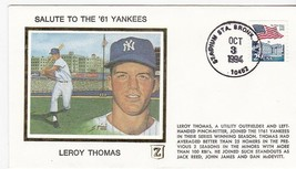 SALUTE TO THE 61 YANKEES LEROY THOMAS BRONX, NY OCT 3 1994 Z SILK CACHET - $2.98