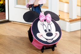 Kids Luggage Rolling Mickey Mouse Minnie Pink Black Gift Idea Disney Tot... - $36.99