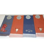 DII Design Import Set of 4 Embroidered Cowboy Ranch Kitchen Towels, 100%... - $14.99