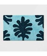 NEW! Opalhouse Palm Bath Rug Blue 20 x 32 in 100% Cotton Mat Shower Room - $21.77