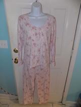 Chaps 2PC Rayon Soft Stretchy Pink Floral Pajama Set TOP/PANTS Size M Women's - $37.04
