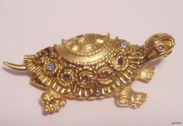 Beautiful Goldtone FLORENZA BROOCH Turtle with Rhinestones - $29.95