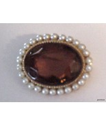 VINTAGE PEARLS AND TOPAZ GLASS STONE BROOCH - $22.95