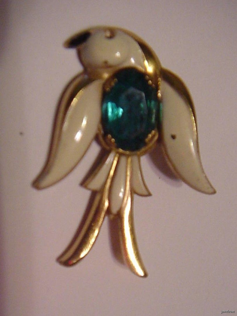 Vintage Coro Enamel Aqua Belly Bird Pin Brooch signed