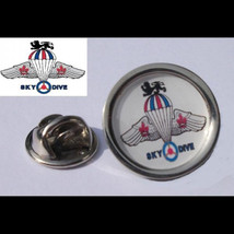 SKY DIVE collection parachute design in red white blue colours Badge Lapel /tie