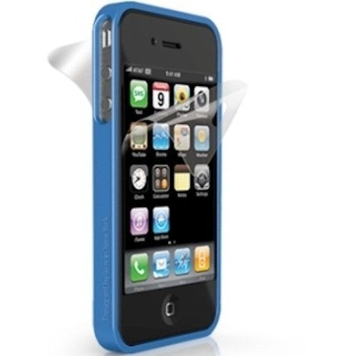 iLuv Edge Silicone Bumper Case w/ Screen & Back Protector for iPhone 4 4S Blue