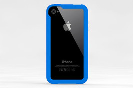 iLuv Edge Silicone Bumper Case w/ Screen & Back Protector for iPhone 4 4S Blue - $17.99