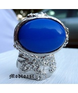 Arty Oval Ring Royal Blue Silver Size 7.5 - $22.99