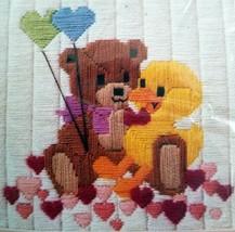 Crewel Kit Little Buddies 1432 Bear Duck Balloons 9 x 9 The Creative Cir... - $13.99