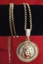 "14K Gold GP Iced Silver Sandstone Inlay Round Jesus Pendant Necklace 30""... - $7.69"