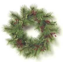 "Hearth & Hand Magnolia 24"" Artificial Red Berry Green Pine Wreath Farmhouse NWT"