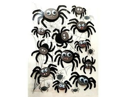 Dimensional Glittered Spiders with Googly Eyes, Perfect for HALLOWEEN!