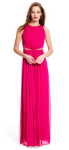 Adrianna Papell New Fuchsia Ruched Halter Dress With Sheer Mesh Waist   12 - $148.50